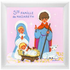 Tableau religieux Sainte Famille rose (15 x 15 cm)