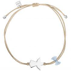 Bracelet cordon beige Spirit ange (argent 925°)