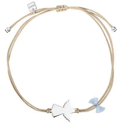Bracelet cordon beige Spirit ange (argent 925°)  par Coquine