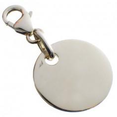 Pendentif empreinte pastille trou rond avec mousqueton (or blanc 750°)