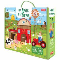 Livre + puzzle géant Les amis de la ferme (30 pièces)