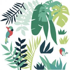 Grand sticker feuilles tropicales (120 x 122 cm)