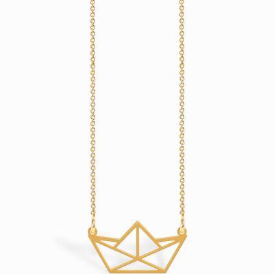 Collier chaîne 40 cm pendentif Origami bateau 20 mm (vermeil doré)  par Coquine