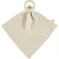 Doudou plat tricoté avec anneau en bois écru So Natural