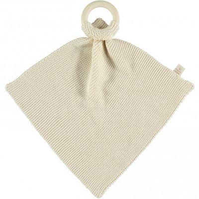 Doudou plat tricoté avec anneau en bois écru So Natural  par Nobodinoz