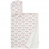 Cape de bain avec capuche éléphant rose en coton bio (100 x 75 cm) - Fresk