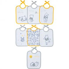Lot de 7 bavoirs à nouer Winnie l'ourson jaune et gris