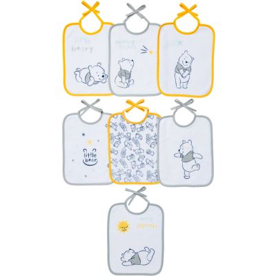 Lot de 7 bavoirs à nouer Winnie l'ourson jaune et gris  par Babycalin