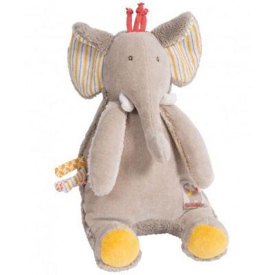 Doudou musical à suspendre éléphant Les Papoum (17 cm)  par Moulin Roty