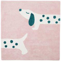Tapis carré en coton bio Amy & Zoé chien rose (120 x 120 cm)