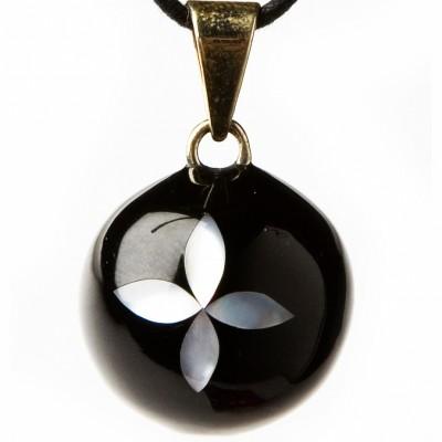 Bola noir nacré fleur  par Bola