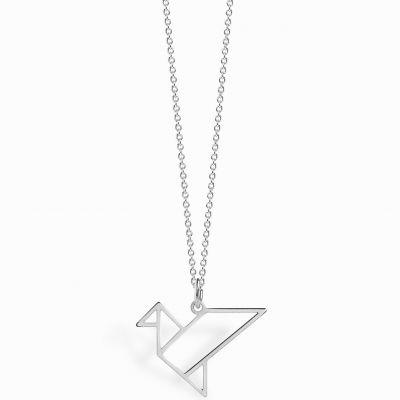 Collier chaîne 40 cm pendentif Origami oiseau 18 mm (argent 925°)  par Coquine