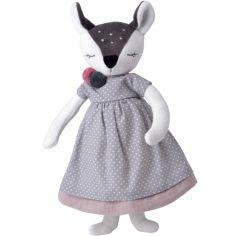 Poupée en coton bio Madame Faon gris (41 cm)