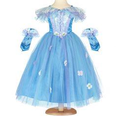 Robe de princesse bleue à fleurs (6-8 ans)