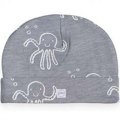 Bonnet de naissance en coton Octopus pieuvre gris