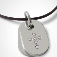 Collier cordon de baptême avec diamants personnalisable (or blanc 750°)