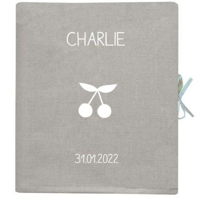 Livre de naissance gris clair 88 pages (personnalisable)  par Les Griottes