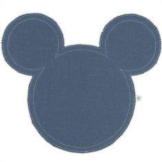 Set de table Mickey en lin bleu denim et argenté