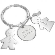 Porte-clés personnalisable 2 enfants (argent 925°)