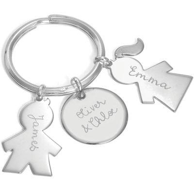 Porte-clés personnalisable 2 enfants (argent 925°) Merci Maman