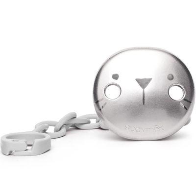 Attache sucette Hygge Baby lapin gris métallisé  par Suavinex