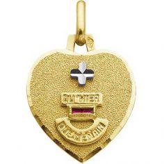 Médaille forme coeur d'Amour (or jaune 750° et rubis) personnalisable