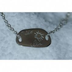 Bracelet empreinte galet carré 2 trous sur chaîne simple 18 cm (or blanc 750°)