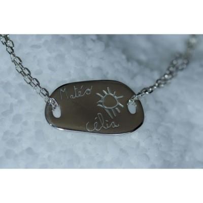 Bracelet empreinte galet carré 2 trous sur chaîne simple 18 cm (or blanc 750°)   par Les Empreintes