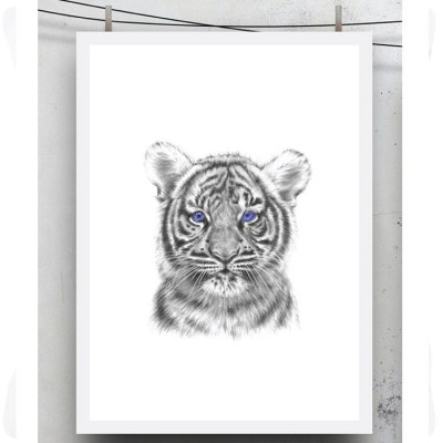 Affiche tigre avec fixation (50 x 70 cm)  par Miss princess and little frog
