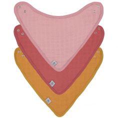 Lot de 3 bavoirs bandanas rose et moutarde