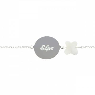 Bracelet Lovely nacre papillon (argent 925°)  par Petits trésors