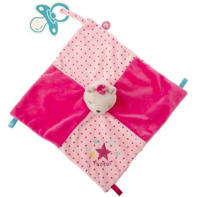 Doudou plat attache sucette ours rose Stories Tuc Tuc