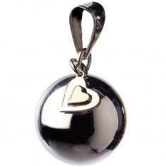 Bola sur cordon noir petit coeur argenté