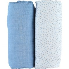 Lot de 2 draps housses coton bio Aston & Jack chien bleu (70 x 140 cm)