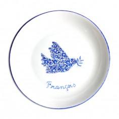 Assiette creuse Colombe en Liberty Fleurs bleu