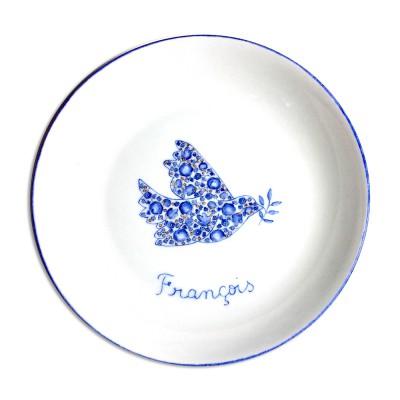 Assiette creuse Colombe en Liberty Fleurs bleu  par Laetitia Socirat