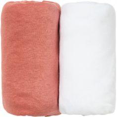 Lot de 2 draps housse Terracotta et blanc (70 x 140 cm)
