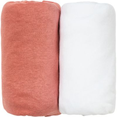 Lot de 2 draps housse Terracotta et blanc (70 x 140 cm)  par Babycalin