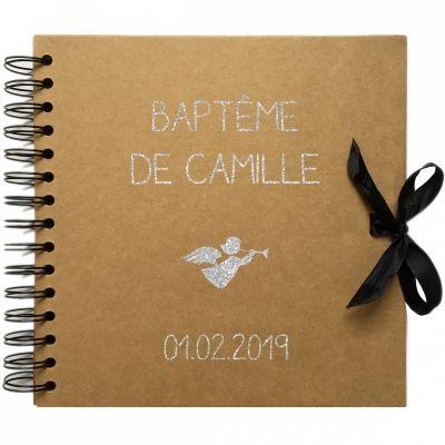 Album photo baptême personnalisable kraft et argent (20 x 20 cm) Les Griottes