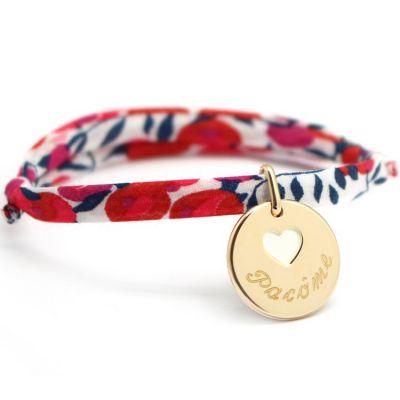 Bracelet cordon liberty médaille Coeur ivoire plaqué or (personnalisable)  par Petits trésors