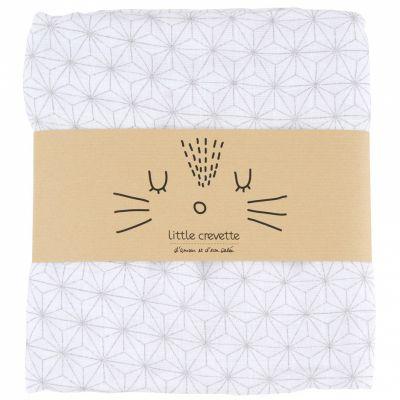 Maxi lange en coton bio étoiles Pompom (120 x 120 cm)  par Little Crevette