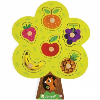 Puzzle à encastrement arbre gourmand (6 pièces)  par Janod