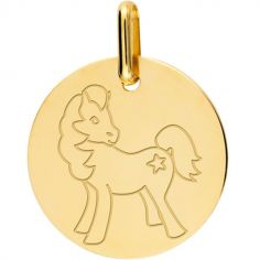 Médaille cheval personnalisable (or jaune 375°)