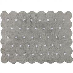 Tapis lavable biscuit gris à pois (120 x 160 cm)