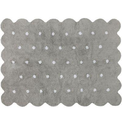 Tapis lavable biscuit gris à pois (120 x 160 cm)  par Lorena Canals
