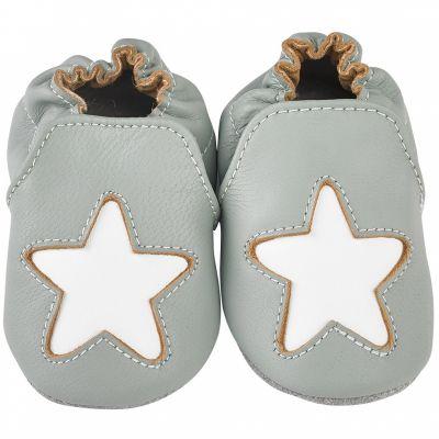 Chaussons cuir Cocon étoile gris (12-18 mois)  par Noukie's
