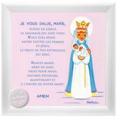 Tableau religieux Prière je vous salue Marie rose (15 x 15 cm)