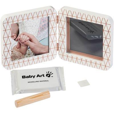 Cadre photo empreinte My Baby Touch blanc en bronze Cooper Edition (2 volets)