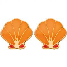 Boucles d'oreilles Coquillage orange (or jaune 375°)