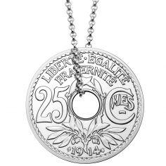 Collier chaîne 55 cm médaille 25 centimes 35 mm recto verso (argent 925°)